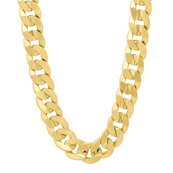 9mm High-Polished 0.25 mils (6 microns) 14k Yellow Gold Plated Flat Cuban Link Curb Chain Necklace, 20'-36