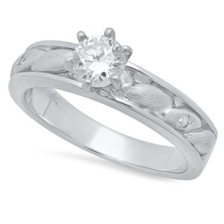 Round CZ Solitaire 4.1mm Sterling Silver Italian Crafted Ellipse Inlay Wedding Ring + Polishing Cloth