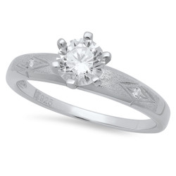 Round CZ Solitaire 3.4mm Textured CZ Sterling Silver Italian Crafted Wedding Ring + Bonus Polishing Cloth