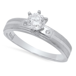 Round CZ Solitaire 4mm Sandblasted Sterling Silver Engagement Ring Made in Italy + Bonus Polishing Cloth
