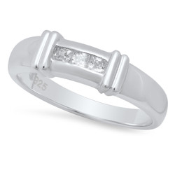 4.3mm Sterling Silver Italian Crafted Channel Set Trilogy Of Square CZ Wedding Band + Polishing Cloth