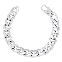 Men's 13.3mm High-Polished Stainless Steel Chunky Curb Chain Bracelet, 9 + Jewelry Cloth & Pouch