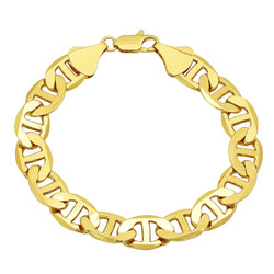 Men's 12mm 0.25 mils (6 microns) 14k Yellow Gold Plated Mariner Chain Bracelet, 7'-9 + Jewelry Cloth & Pouch