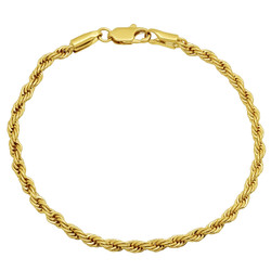 3.5mm 14k Yellow Gold Plated Twisted Rope Chain Bracelet