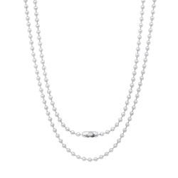 2.4mm High-Polished Stainless Steel Round Ball Chain Necklace, 24 + Jewelry Cloth & Pouch
