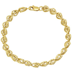 7mm Textured 0.25 mils (6 microns) 14k Yellow Gold Plated Heart Link Heart Chain Link Bracelet