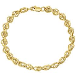 7mm Textured 14k Yellow Gold Plated Heart Link Heart Chain Link Bracelet