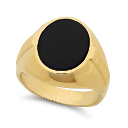 Men's Large 14k Yellow Gold Plated Black Signet Style Classic Ring