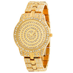 Men's Polished 14k Gold Plated Stainless Steel Cubic Zirconia Iced Out Watch + Jewelry Cloth & Pouch