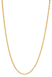 1.7mm 0.25 mils (6 microns) 14k Yellow Gold Plated Square Twisted Box Chain Necklace, 7'-30 + Jewelry Cloth & Pouch
