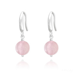 High-Polished .925 Sterling Silver Pink Rose-Quartz Drop Earrings + Jewelry Cloth & Pouch