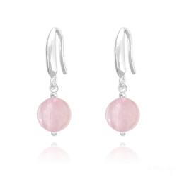 Solid .925 Sterling Silver Pink Rose-Quartz Drop Earrings