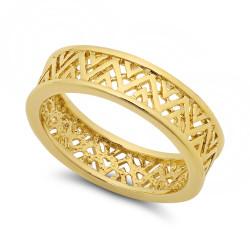 0.25 mils 14k Gold Plated Band Ring + Anti-Tarnish Velvet Pouch