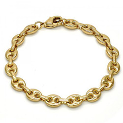 7.9mm Polished 0.25 mils 14k Yellow Gold Plated Puffed Mariner Chain Bracelet, 7.5 inches + Jewelry Cloth & Pouch