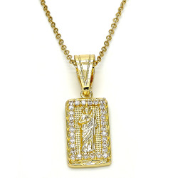 Polished 0.25 mils 14k Yellow Gold Plated Clear CZ Type Type Type Pendant, 36mm x 12.4mm (⅖ inches' x ½ inches')