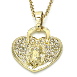Polished 0.25 mils 14k Yellow Gold Plated Clear CZ Type Type Type Pendant, 30mm x 21mm (⅛ inches' x ⅘ inches')