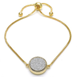 14.6mm Polished 0.25 mils (6 microns) 14k Yellow Gold Plated Square Bolo Bracelet, 10 inches + Jewelry Cloth & Pouch