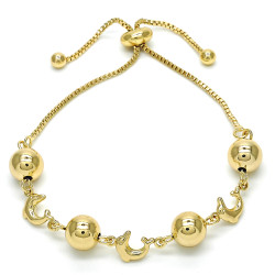 8.1mm Polished 0.25 mils (6 microns) 14k Yellow Gold Plated Bolo Bracelet, 9.5 inches + Jewelry Cloth & Pouch