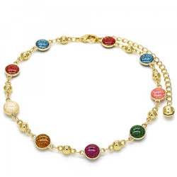 8mm Polished 0.25 mils (6 microns) 14k Yellow Gold Plated Anklet, 9.5 inches + Jewelry Cloth & Pouch