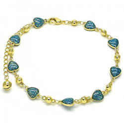 7.8mm Polished 0.25 mils (6 microns) 14k Yellow Gold Plated Link Chain Anklet, 9 inches