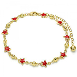 8mm Polished 0.25 mils (6 microns) 14k Yellow Gold Plated Anklet, 9 inches + Jewelry Cloth & Pouch