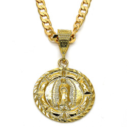 Polished 14k Yellow Gold Plated Type Type Type Pendant, 56mm x 33mm (' x ')