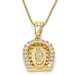 Polished 0.25 mils 14k Yellow Gold Plated Clear CZ Type Type Type Pendant, 39mm x 21mm (½ inches' x ⅘ inches')