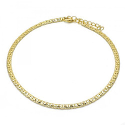 3.4mm Polished 0.25 mils (6 microns) 14k Yellow Gold Plated C-CHAIN Anklet, 11 inches + Jewelry Cloth & Pouch