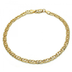 4.5mm Polished 0.25 mils (6 microns) 14k Yellow Gold Plated Flat Fancy Link Chain Anklet, 10 inches