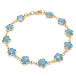 Polished 0.25 mils (6 microns) 14k Yellow Gold Plated Blue Opal Flower Stone Charm Anklet, 10 inches