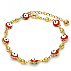 Polished 0.25 mils (6 microns) 14k Yellow Gold Plated Red Evil Eye Charm Anklet, 10 inches