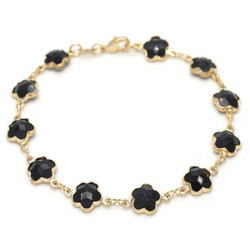 Polished 0.25 mils (6 microns) 14k Yellow Gold Plated Black Opal Flower Stone Charm Anklet, 9.5 inches