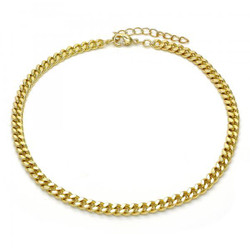 4.5mm Polished 0.25 mils (6 microns) 14k Yellow Gold Plated Flat Curb Chain Anklet, 11 inches