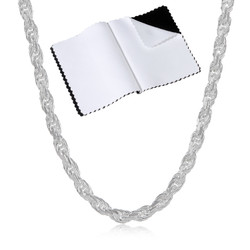 2.6mm Diamond-Cut Silver Round Rope Chain Necklace, 7'-30 + Jewelry Cloth & Pouch
