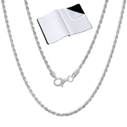 2mm .925 Sterling Silver Diamond-Cut Twisted Rope Chain Necklace