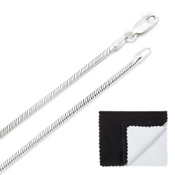 2mm Solid .925 Sterling Silver Round Snake Chain Necklace