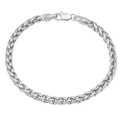 5mm Rhodium Plated Braided Wheat Chain Bracelet