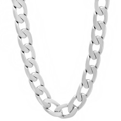 9.5mm High-Polished 0.25 mils (6 microns) Rhodium Brass Flat Beveled Curb Chain Necklace, 7'-36 + Jewelry Cloth & Pouch