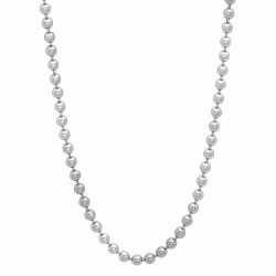 2.3mm High-Polished 0.25 mils (6 microns) Rhodium Brass Round Bead Chain Necklace, 7'-36 + Jewelry Cloth & Pouch