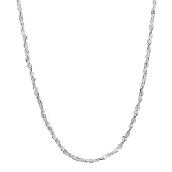 2mm High-Polished 0.25 mils (6 microns) Rhodium Brass Twisted Singapore Chain Necklace, 7'-36 + Jewelry Cloth & Pouch