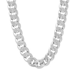 9mm High-Polished 0.25 mils (6 microns) Rhodium Brass Flat Cuban Link Curb Chain Necklace, 7'-36 + Jewelry Cloth & Pouch