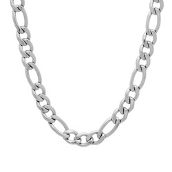 6mm High-Polished Stainless Steel Flat Figaro Chain Necklace, 18'-30 + Jewelry Cloth & Pouch