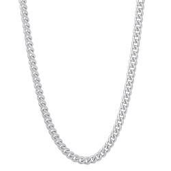 3mm Polished 0.25 mils (6 microns) Rhodium Plated Brass Cuban Link Curb Chain Necklace, 7'-36 + Jewelry Cloth & Pouch