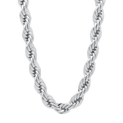Men's 6.7mm High-Polished 0.25 mils (6 microns) Rhodium Brass Round Rope Chain Necklace, 7'-36 + Jewelry Cloth & Pouch