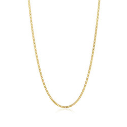 3.1mm 24k Yellow Gold Plated Stainless Steel Flat Cuban Link Curb Chain Necklace
