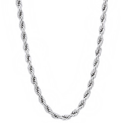 2.8mm Polished 0.25 mils (6 microns) Rhodium Brass Round Rope Chain Necklace, 7'-30 + Jewelry Cloth & Pouch