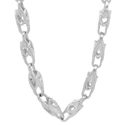 6mm High-Polished 0.25 mils (6 microns) Rhodium Brass Square Chain Necklace, 8'24 + Jewelry Cloth & Pouch