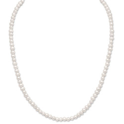 Sterling Silver 4mm White Freshwater Cultured Pearl Choker Necklace Extension 15' + 2' + Polishing Cloth