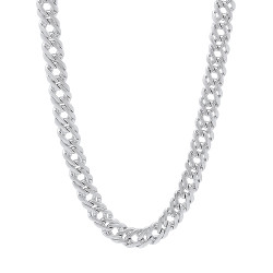 5mm Rhodium Plated Cable Venetian Chain Necklace