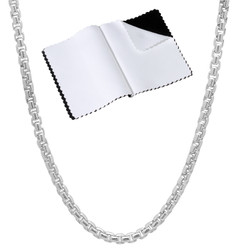 3.5mm High-Polished .925 Sterling Silver Square Box Chain Necklace, 7'-30 + Jewelry Cloth & Pouch
